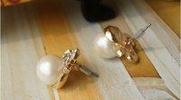 Серьги-гвоздики airmail shipping Classic Bowknot Pearl Stud Earring E51
