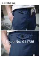 Мужские шорты 2013 New hot sale linen material cultivating leisure solid color mens shorts, straight shorts men, 8841