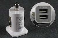 Зарядное устройство F02649 5V 3.1A Mini Micro Auto Dual USB Car charger usams for iphone 4GS 3GS ipod IPAD /IPAD2