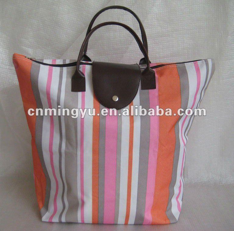 600D polyester folding shopper tote bag/striped folding polyester canvas shopping bag