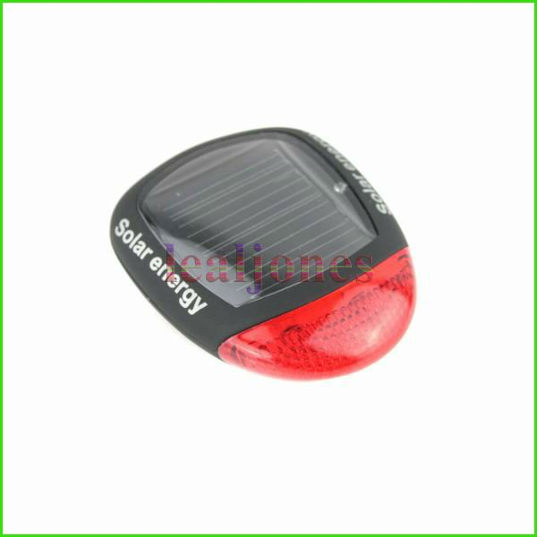 New LED Solar Energy safety Bicycle Bike Tail Lamp Rear Light with mount free shipping HE-023