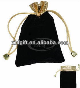 mini drawstring bag with metallic top