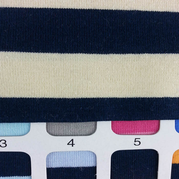"65"" wide 190g/sqm jersey knit 0.8"" stripe cotton fabric"