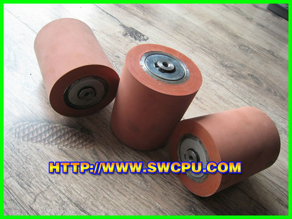 Blue Rubber Roller with Bearing Bonded to Metal