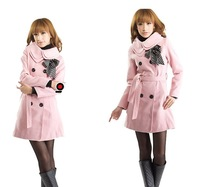Женская одежда из шерсти 2013 new fashion Women wool coat Slim fit trench coat winter lady clothes outerwear double breasted long overcoat