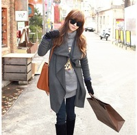 Женский тренч Winter new han edition of irregular pleated falbala cardigan coat coat1202