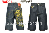 Женские джинсы 2013 new Ed hardy male embroidery Short jeans ED Middle pants Fashion jeans beautiful woman size:30-42 EDd008