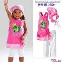 Комплект одежды для девочек 2013 Girls Summer casual vest frog Beach 3 Piece Set headwear+t-shirt+pants