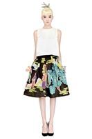 летняя Белая леди назад молния короткие топы старинные печати колен юбка мода женские костюмы 612