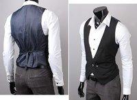 Free Ship High Quality Fashion Slim Fit Solid Men's Suit Vest False-two-piece vests Stylish mans waistcoat Men's clothing