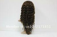 """супер качество, bresilienne Реми волос полное кружево парики, глубокая волна, парики, 100% ручной, темного цвета, 14""""- 28"""