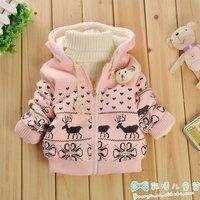 Детская одежда для девочек baby girl winter clothes infant kids clothing thick with hat fur coat hoodies