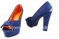 Туфли на высоком каблуке 2012 new han2 ban3 new thick with high with fish mouth shoes bowknot women's shoes