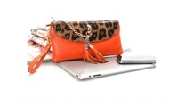Free shipping!!Genuine leather handbag,Leopard tassel bag,Elegant evening bag,Fashion mini shoulder bag
