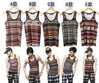 Мужская майка 5 Colors:A, B, C, D, E.Size:S, M, L, XL.Hot Sell.Korean Slim men vest, vintage ethnic style Couple cashmere tank top