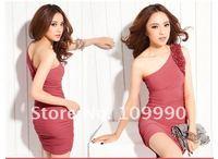 Женское платье 2013 new spring sexy Elastic hot temperament perfect tight elastic fold one shoulder women dress