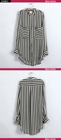 Женские блузки и Рубашки 2013 New Women's Longsleeve Shirt Striped Lady's Blouses Hot Sale Fashion Top Women clothes 2013031104