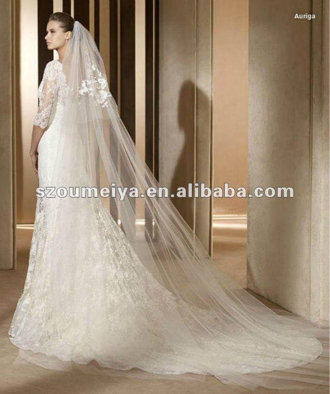 Lace Wedding Dress With Long Veil With Long Veil A38 Lace Long