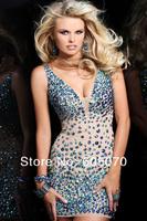 сверкают пользовательские сделал v-образным вырезом, что горный хрусталь алмазов тюль сексуальные съемные юбка партия платья моды 2 часть выпускного платья
