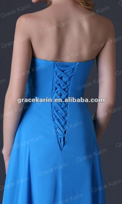 Grace Karin 2015 Elegant Strapless Blue Chiffon Long Prom dresses CL3458