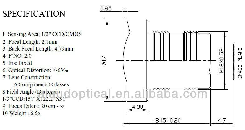 Alaud широкоугольный объектив, фокусное расстояние 2.1 мм угол 151 градусов для 1/3