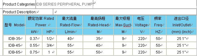 220v 0.5hp IDB PERIPHERAL PUMP
