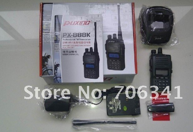 BLACK PUXING PX-888K dualband dual frequency UHF 400-480Mhz VHF 136-174MHz two way radio walkie talkie transceiver