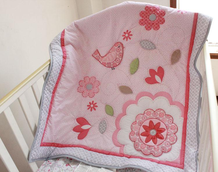 Купить / одеяло простыня с резинками бамперы юбка 7 шт. аппликация одеяло 3D розовый птичка цветок младенцы футляр детская крова