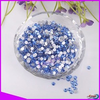 LY10528,Wholesale Non hot fix flatback Nail art crystal rhinestone ss12(3.1-3.2mm) Light sapphire CPAM free,1440pcs/bag