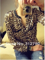 Женские блузки и Рубашки New2013 Fashion Women's Blouses Sexy Women Casual Wild Leopard/Star Shirts Autumn-Summer Printed Tops S/M/L Gift