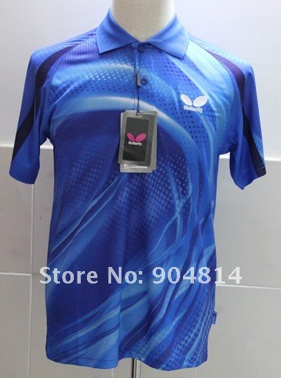 2012 free shipping wholesale!Butterfly Man's Badminton /table tennis shirt colour :blue J0051
