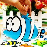 Стикеры для стен Children's favorite 16 fish wall stickers Children's room bathroom ceramic tile stickers removable wall stickers big eye fish