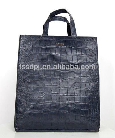 PU leather navy alligator grain handbag,alligator grain shopping bags,tote bags,