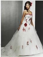 Free shipping! new style Strapless chiffon embroidered tulle White/Ivory with red Printed bridal wedding dress wedding dresses