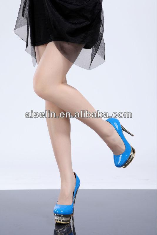Élégantes chaussures à talons hauts bleu royal en cuir double plate - forme chaussures