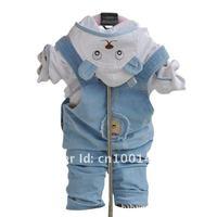 Free shipping100% cotton children's clothing autumn bib pants set twinset