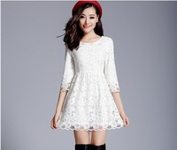S-XL!! 2013 New style Women & Lady Party wedding & Casual Lace dress/Half sleeve ,Embroidery knee-length white evening dress