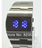 Наручные часы binary watches LF sand shell luxury fashion waterproof blue LED watches full-steel man wrist watch Christmas gift
