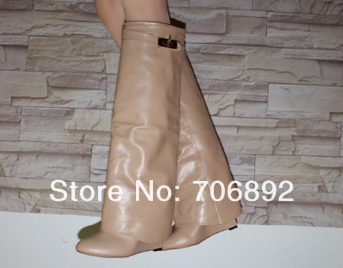 High Fashion Kim Kardashian SharkLock Fold Over Wedge Boots Women Tall