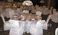 free shipping chocolate brown ruffled banquet spandex chair cover with diamond band