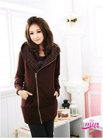 Женская куртка 2012 hot sale new winter korea strass collar zipper up hot fleece jacket womens coat sweatshirt top M, L size