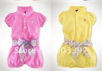 baby wear, good quality! children clothing Six-color Romper Baby Romper With Belt
