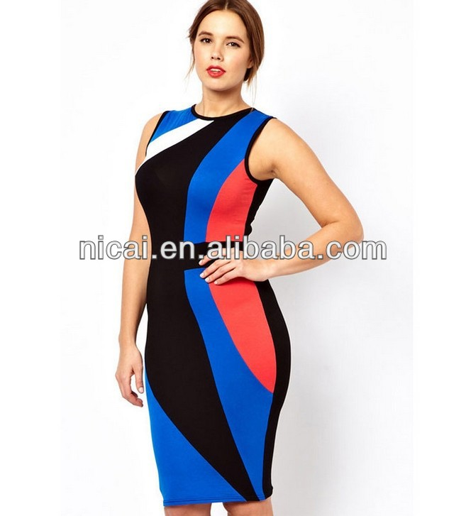 Blue fat women casual dresses