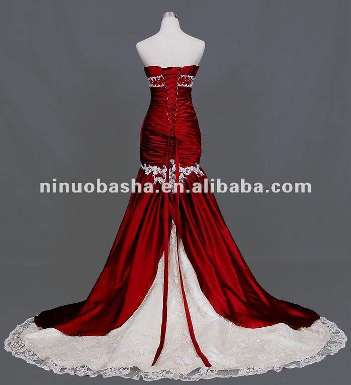 Sweetheart Neckline Boutique Mermaid Red Wedding Dress