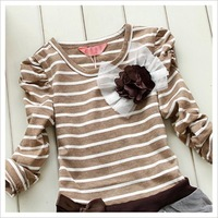 Платье для девочек hot selling! 5pcs/lot 2102 autumn kids girl long sleeve striped princess dresses