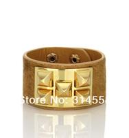 MUST HAVE Punk Style Leather with Fur Cuff Bracelet, Hot Sale Wrap Bracelet