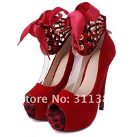 Free drop shipping two wear way platform pumps 2013 bowtie sexy high heels ladies women shoes woman 14 cm party suede SXX02064