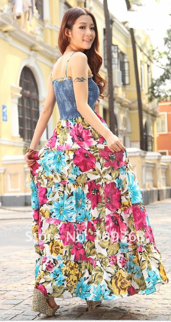 2012 Classical Sexy Lady Colorful Long Dresses,Original Women's Dresses Cotton Linen Beach Printing Dress free shipping 566