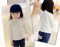 Дизайн + скидка 10% + осень девушка твердый белый цветок рубашка детей высокое качество кружева футболка рубашка Детская одежда