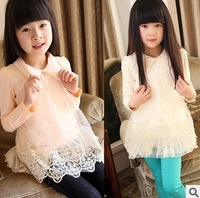 Футболка для девочки Girls spring 2013 Korean version of the Peter Pan collar of lace long section of the T-shirt